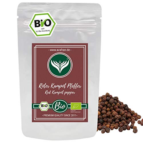 Azafran BIO Roter Kampot Pfeffer (Pfefferkörner ganz) Gourmetpfeffer 100g