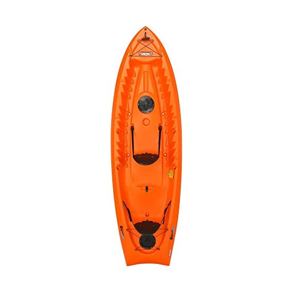 """Lifetime Kokanee Sit-On-Top Kayak, Orange, 10'6"""" 1 Constructed of UV-Protected High-Density Polyethylene (HDPE). Hull Design Provides Ultra Stability & Great Tracking. Scupper Holes Drain Cockpit Area Scupper Holes Drain Cockpit Area. Easy Carry Handles. Multiple Footrest Positions for Different Size Riders 2 Ditty Trays and Shock Cord Straps to Secure Loose Items. Optional Third Jump Seat"""