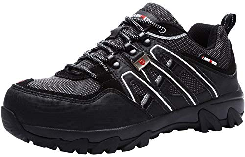 LARNMERN Zapatos de Seguridad para Hombre, Puntas de Acero Antideslizantes SRC Anti-Piercing Zapatos de Trabajo (47 EU Negro)