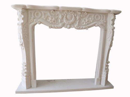Luxury-Park dream in white marble fire place camino marmo stilo barocco 150x120cm D heb 02