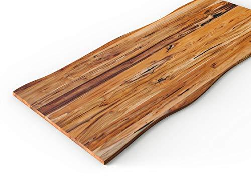 INTERBUILD REAL WOOD Panel de encimera maciza de teca, 2 lado vivo, aceitado transparente, 2200x635x30mm, para cocina, encimera, isla, FSC