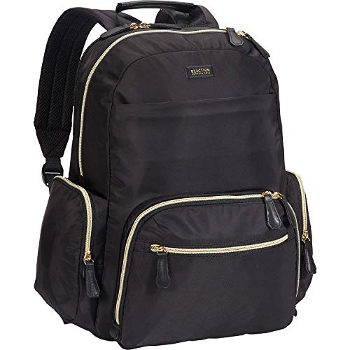 "Kenneth Cole Reaction Women's Sophie Backpack Silky Nylon 15"" Laptop & Tablet RFID Bookbag for School, Work, & Travel, Black, One Size"