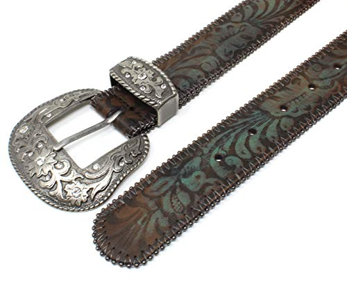 Turquoise Tinted Embossed Brown Leather Belt 2