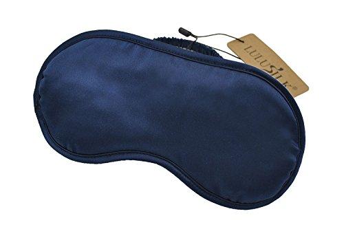 LULUSILK Mulberry Silk Sleep Eye Mask Blindfold with Elastic Strap Headband, Soft Eye Cover Eyeshade for Night Sleeping, Travel, Nap (Navy Blue)