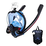 HJKB Full Face Snorkel Mask with Anti-Fog Wipes, 180 Degree Panoramic HD View Snorkeling Mask, Anti-Leak Dry Top Set for Adults and...