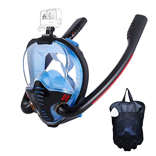 HJKB Full Face Snorkel Mask, 180 Degree Panoramic Anti-Leak with Latest Dry Top System, Snorkeling Mask with Camera Mount for Kids and Adult (Black & Blue, L/XL)