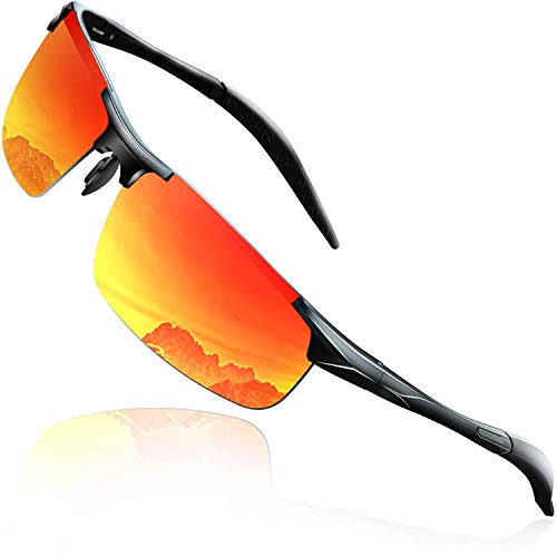 DADA-PRO Sonnenbrille Herren Sportbrille Damen Polarisiert Verspiegelt Retro Fahren Fahrerbrille UV400 Schutz für Autofahren Reisen Golf Party und Freizeit (Rot Neu)