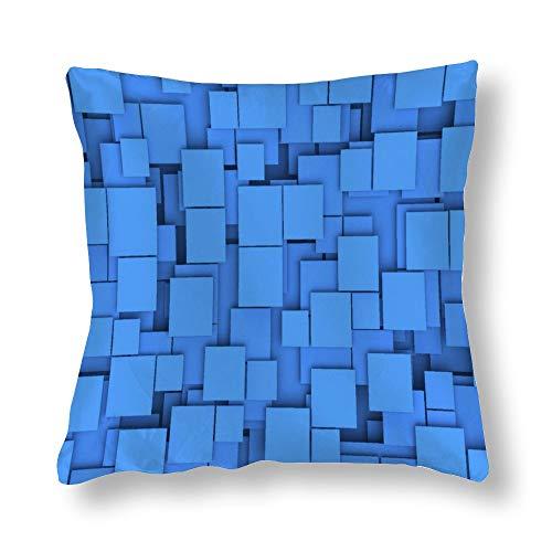 Funda de almohada con diseño cuadrado azul helado chocolate