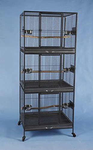 Three Tier Stackable Multiple Bird Parrot Animal Pet Cage - 30' X 24' X 73'H- Black Vein