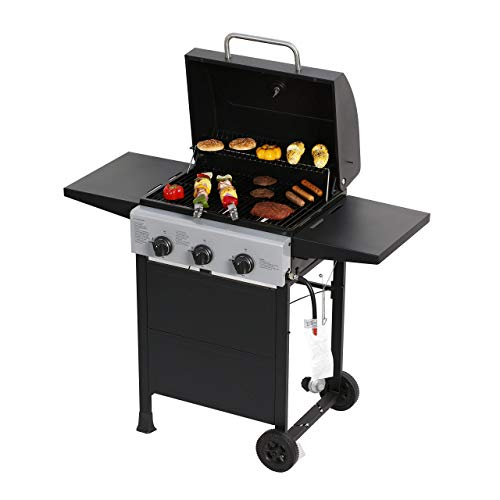 MASTER COOK Classic Liquid Propane Gas Grill, 3 Bunner with Folding Table, Black (Renewed) Gas Grills