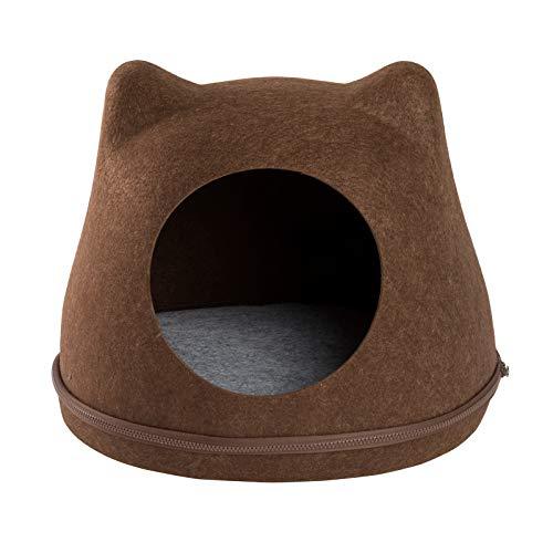JAMAXX Katzen-Höhle   Filz Katzen-Körbchen   Stabil, Standfest, Katzenbett Katzennest Kuschel-Höhle Katzenhaus   43x35x35 braun Design Solo