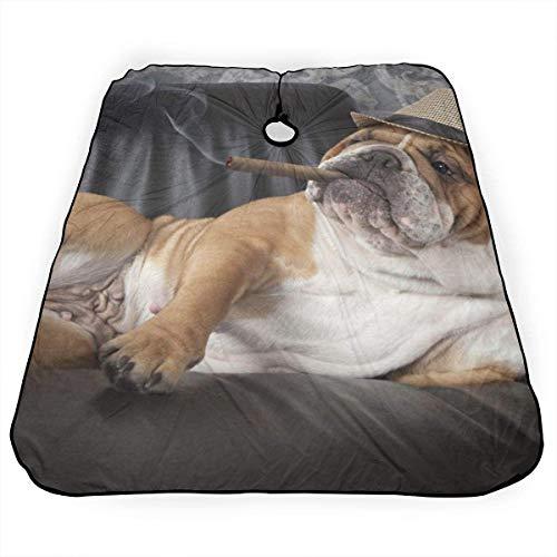 Kapsel Cape Engels Bulldog Roken Drink Wijn Hond Haar Snijden Cape voor Volwassenen Lichtgewicht Salon Barber Capes Kappers Schort voor Mannen Womens 55 X 66 in