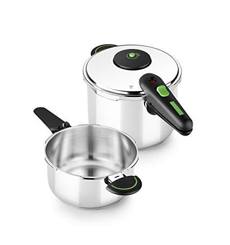Monix Presto Duo - Set de ollas a presión 4+6 L acero inoxidable 18/10, apta para todo tipo de cocinas incluida inducción