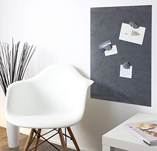 Magnettafel Echt Schiefer 4 In 1, Größe 80x60 cm (Magnetwand+Kreidetafel+Pinnwand+Wandbild) Magnetboard Größen 30x60cm, 40x60cm, 80x60cm, 120x60cm(Grey Impact, 80cmx61cm)