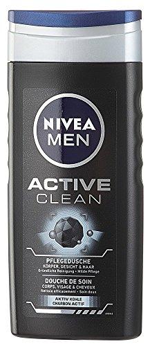 Nivea Men Active Clean Duschgel für Körper, Gesicht und Haar, 6er Pack (6 x 250 ml)