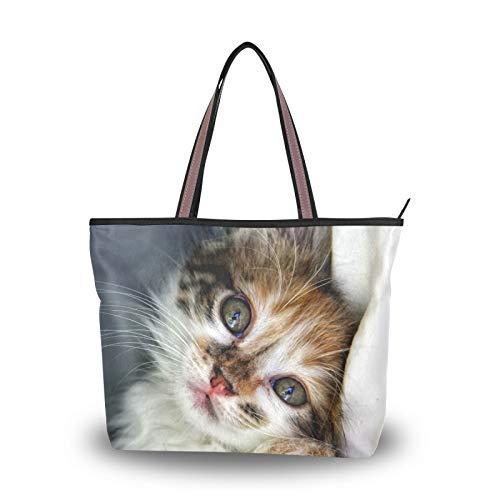 NaiiaN Bolsos de mano con correa de peso ligero, bolso de mano, bolso de compras para mujeres, niñas, señoras, estudiantes, gatos, bolsos de hombro acostados