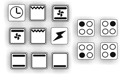 Generisch EIN Set mit 13 Stück Herd Aufkleber E Herd Beschriftung Ofen Koch Schalter Zeichen Symbole (R29/1) (Nr1. Schwarze Symbole auf weißem Grund, 14x14mm)