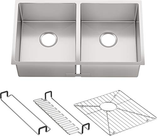 KOHLER K-5281-NA Strive 32 X 18-1/4 X 9-5/16-Inch Under-Mount Double-Equal Kitchen Sink with Basin Rack, Stainless Steel, 1-Pack