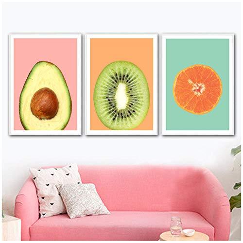 xwlljkcz Kiwi Avocado Orange Frucht Wandkunst Leinwand Malerei Plakate und Drucke Nordic Poster Wandbilder für Wohnzimmer Kunst Wandfarbe 40x60cmx3 Ungerahmt