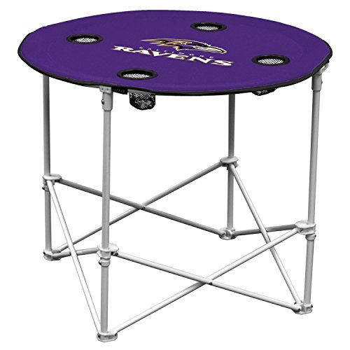 NFL Logo Brands Baltimore Ravens Collapsible Round Table with 4 Cup Holders and Carry Bag, Team Color