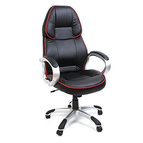 Mendler Poltrona ufficio N58 ecopelle design classico 65x67x118-125cm nero e rosso