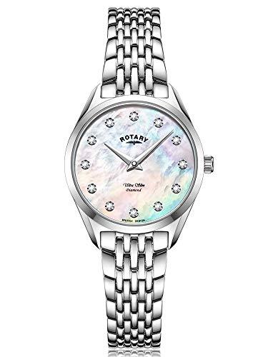 Rotary Mujer ultradelgada | Pulsera de Acero Inoxidable | Esfera de nácar de Diamantes LB08010/07/D