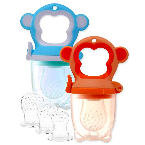 2 Fruchtsauger Äffchen für Baby & Kleinkind + 6 Silikon-Sauger in 3 Größen - Sicher + BPA-frei - Schnuller Breisauger Früchtenetz Obstsauger Babylutscher Beißring Obst Gemüse Brei Beikost