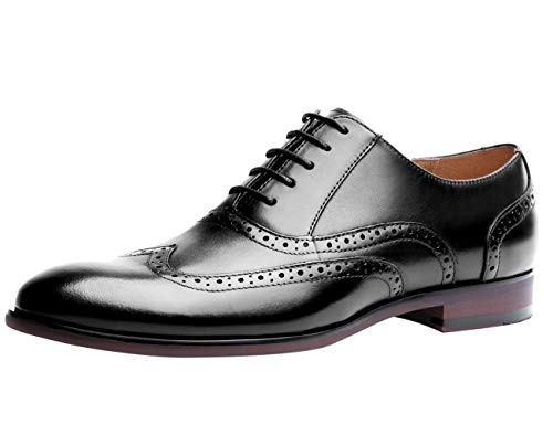 Mens Dress Shoes Casual Leather Fashion Lace up Oxford Wingtip Round Toe Formal Classic Modern Brogue Shoe Black 10 M US