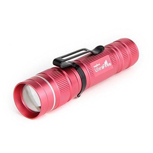 ULTRAFIRE Linternas Pequeñas LED Mini Linterna Enfoque Ajustable 3 Modos 250 Lúmene,J3,Zoomable Impermeable Portátil Linterna Tactica (Rosado)