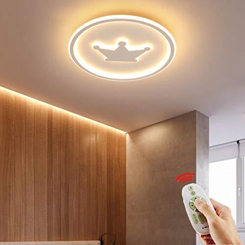 Lámpara techo LED Lámpara de techo de corona dorada regulable con control remoto Lámpara de acrílico Lámpara techo Lámpara techo Boy Girl Baby Niños Habitación para niños Luz iluminación,40cm