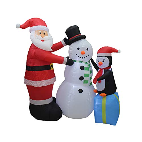 A Holiday Company Heavy Duty 6 Foot Tall Inflatable Light Up Holiday Christmas Santa and Friends Penguin Snowman Lawn Decoration