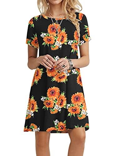 POPYOUNG Women's Summer Casual Tshirt Dresses Beach Dress Large, Sunflower-B