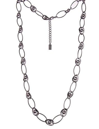 Leslii lange Damen-kette Kugeln Glieder-Kette Statement-Kette lange Halskette schwarze Modeschmuck-Kette 90cm Schwarz Hochglanz
