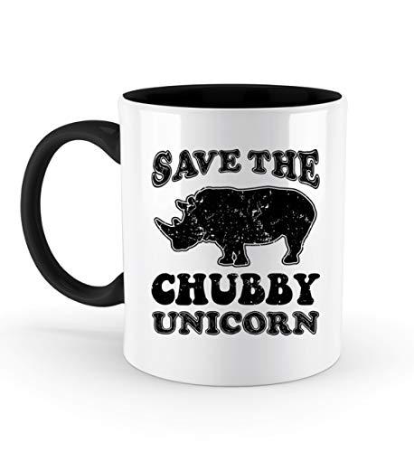 PlimPlom Save The Chubby Unicorns - Rettet Die Dicken Einhörner Kaffeetasse Bürotasse - Zweifarbige Tasse -330ml-Schwarz