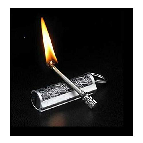 Shuttle tree Permanent Match Keychain Lighter,Keychain Flint Metal Matchstick Fire Starter, Forever Metal Match Lighter, Waterproof Flint Fire Starter (Black)