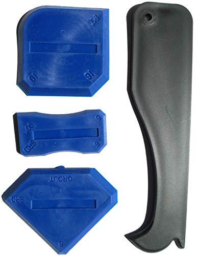 Caulking Tool Kit, 4 Pcs, Hand Caulking Guns for Bathroom Kitchen and Frames Sealant Seals Silicone Sealant Finishing Tool Grout Scraper Caulk Remover and Caulk Nozzle (Caulking Tool Kit)