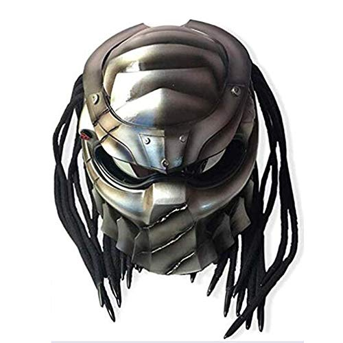 Smotly Motorradhelm,Jagged Warrior Helm Alien Personal Predator Integralhelm Harley Motorcycle Vintage Alternative Helm und Webart,L