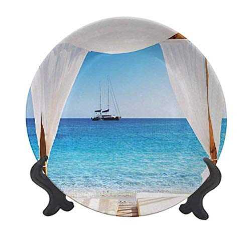 SfeatrutMAT 6' Balinese Dinner Plate,Beach Through Balinese Bed Summer Sunshine Clear Sky Honeymoon Natural Spa Picture Creative Decorative Plate for Pasta, Salad Blue White