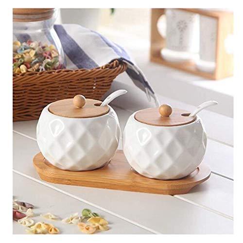 LYMUP Sal de cerámica, azúcar, pimienta, condimento, frasco, cocina, juego, combinación, almacenamiento (tamaño: A)