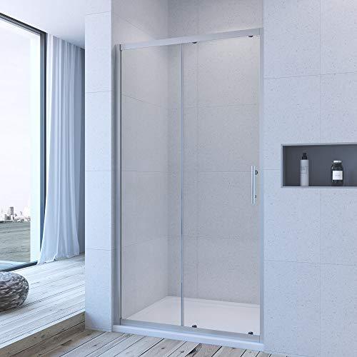 AQUABATOS® 120cm Duschabtrennung Duschtür Nischentür Schiebetür Duschwand ESG Glas Höhe 185cm