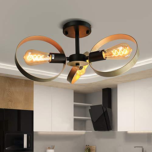 Preisvergleich Produktbild ZMH Vintage Deckenleuchte Wohnzimmer Deckenlampe modern Dimmbare 360°Drehbar 3-Ringe E27 Deckenbeleuchtung Deckenleuchten für Wohnzimmer Schlafzimmer Esszimmer Flur Balkon