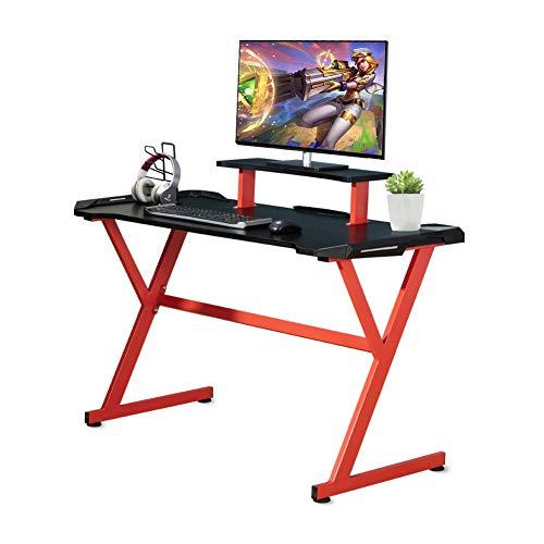 ZENEZ Mesa Gaming, Escritorio Gaming 120x60x73 cm, Mesa Ordenador Escritorio Ordenador Ergonomía con Gran Superficie de Fibra de Carbono, Soporte para Auriculares, para Hogar Oficina