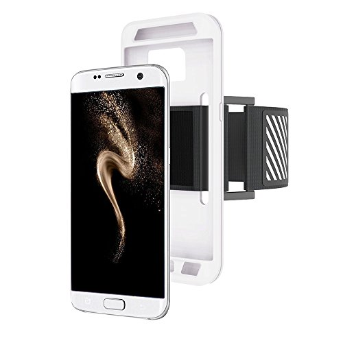 Anfire Brazalete Deportivo para Samsung Galaxy S7 Edge, Prueba de Sudor Brazalete para Running Alpinismo y Ciclismo, Antideslizante Armband Silicona Brazalete Ajustable Teléfono Móvil - Blanco