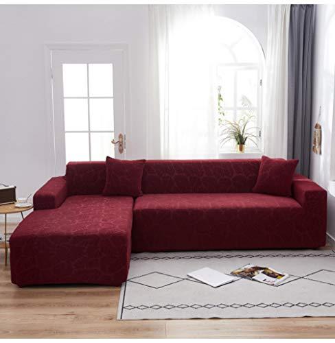 Funda de Sofá Elástica en Forma de L para Sofá de 1 2 3 4 plazas, Jacquard Elástica Funda De Sofá Universal Cubierta de Sofá Cubre Moda Sofá-Wine_Red_300-360cm