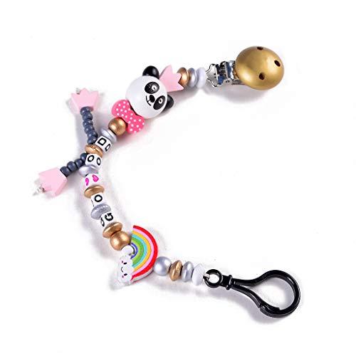 JOYKK Baby Schnuller Clip Kette Infant Jungen mädchen niedlichen Panda Buchstaben Spielzeug beißring schnullerkette Halter Baby nippel fütterung Hand Made - Gold