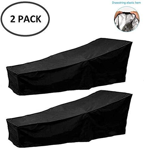 NTR Outdoor Sun Lounger Covers Impermeable Garden Rattan Sunbed Cover Protector de Muebles de Patio Anti-UV con Revestimiento de PVC Negro, Negro