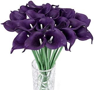 Houda Calla Lily Bridal Wedding Artificial Fake Flowers Party Decor Bouquet PU Real Touch Flower 10PCS (Dark Purple 10pcs)