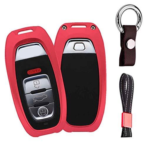 Rouge Auto clés Sac Housse de Protection pour Audi A3 A4 A5 A6 A7 Q3 Q5 Q7 3/4 Buttons