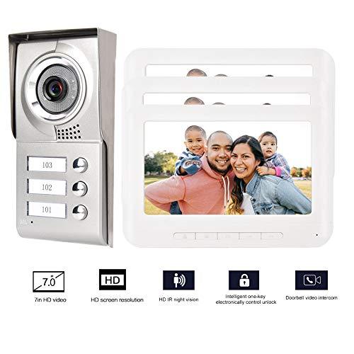 7 Zoll HD TFT-LCD Screen 4-Wire Video Türsprechanlage Intercom System 3 Apartments für Familienvilla Sicherheit mit IR-CUT-Kamera mit Nachtsicht- / elektrischer Verriegelungsfunktion (EU)