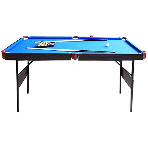 AIPINQI 55ft Billard Table, Stable Pool Table Foldable Pool Game Table Billard Snooker Sets for Adult/Teenagers/Kids with Cues, Triangle, Chalk, Brush (Blue)